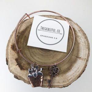 Rose gold expandable handmade charm bracelet